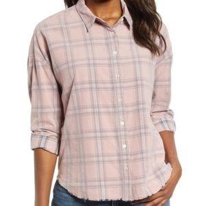 Pink and Gray Plaid Print Corduroy Shirt (NWT)